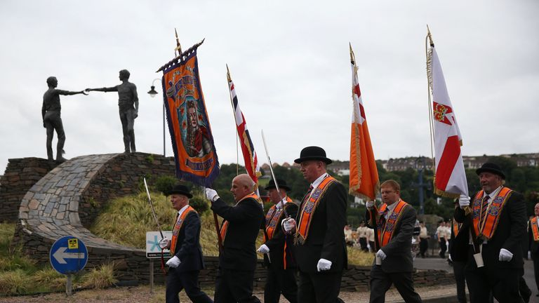 Orange Order parades were held across Northern Ireland to commemorate the Battle of the Boyne in 1690