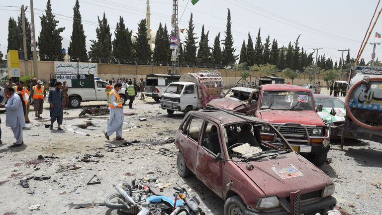 Pakistani security personnel at the site of a suicide attack near a polling station in Quetta