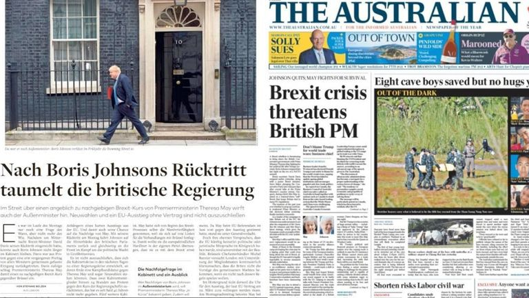 Papers across the globe have reported on the resignations of David Davis and Boris Johnson
