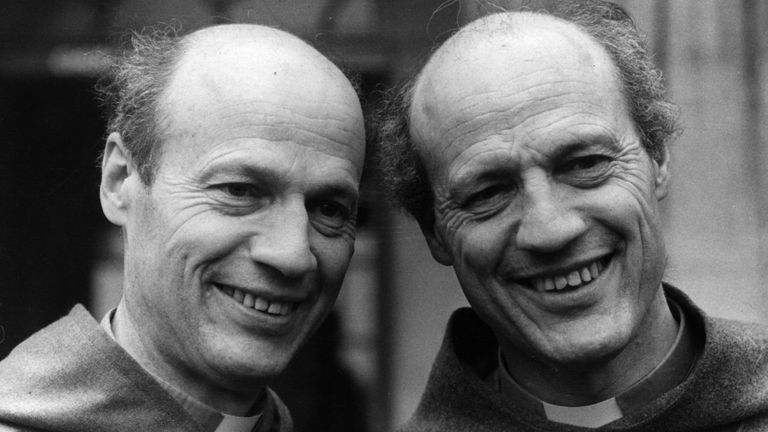 18th March 1980: Michael Ball has just announced his appointment as the Bishop of Jarrow, a profession he has in common with his twin Peter (right). An inch taller at 5 foot 9 inches, and half-an-hour older, Peter is Bishop of Lewes. The twins, aged 48, claimed instances of telepathy and founded their own religious community at Stroud in 1960. (Photo by Evening Standard/Getty Images)
