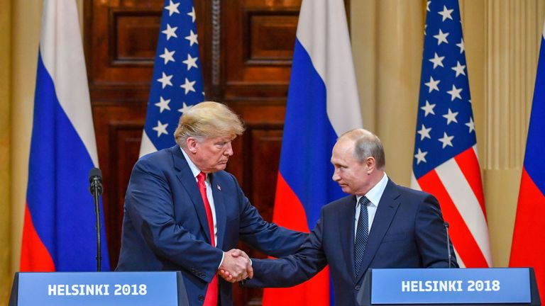 Donald Trump and Vladimir Putin at the Helsinki summit