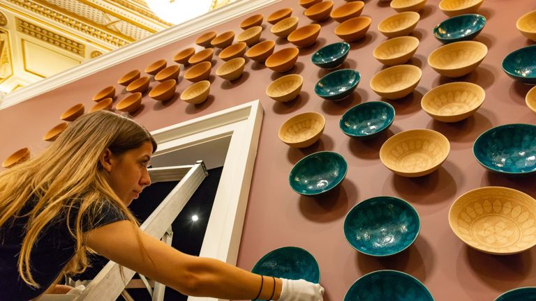 An installation of ceramic bowls at the exhibition. Pic: Royal Collection Trust