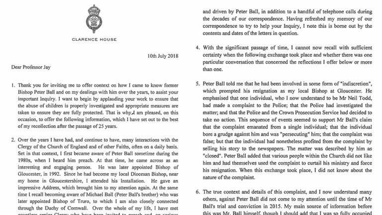 Prince Charles's letter