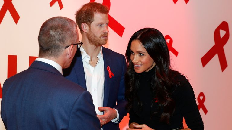 Prince Harry and Meghan Markle at the Terrence Higgins Trust World AIDS Day charity fair in 2017