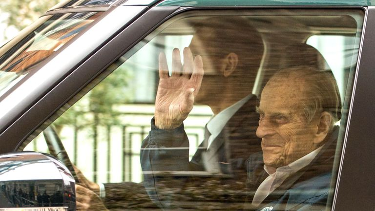 The Duke of Edinburgh leaving the King Edward VII's Hospital in London after recovering from a planned surgery in April 2018