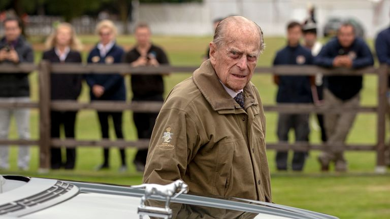 The Duke of Edinburgh arrives to attend the Cartier Trophy at the Guards Polo Club, Windsor Great Park in June 2018
