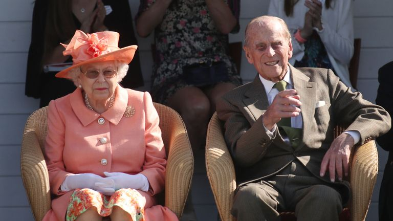 Queen Elizabeth II and The Duke of Edinburgh during the polo at the Guards Polo Club, Windsor Great Park in June 2018
