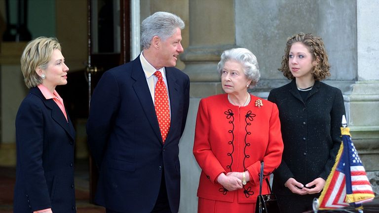 Bill Clinton with wife Hillary and daughter Chelsea at Buckingham Palace in 2000