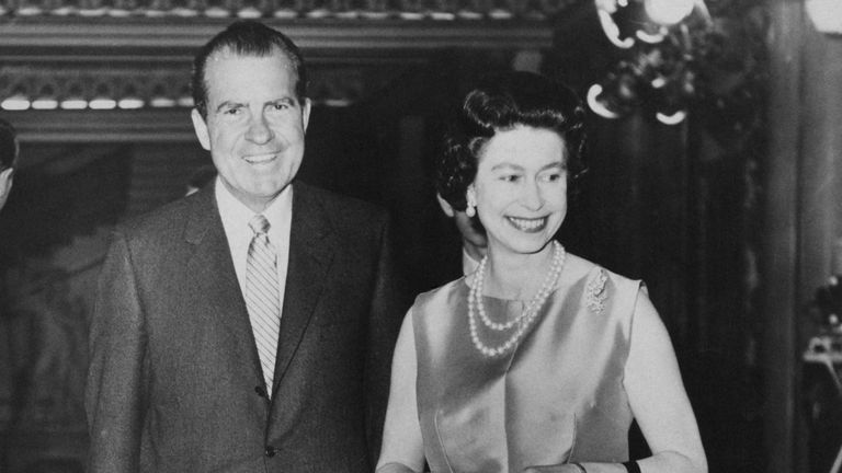 The Queen with Richard Nixon at Buckingham Palace in February 1969