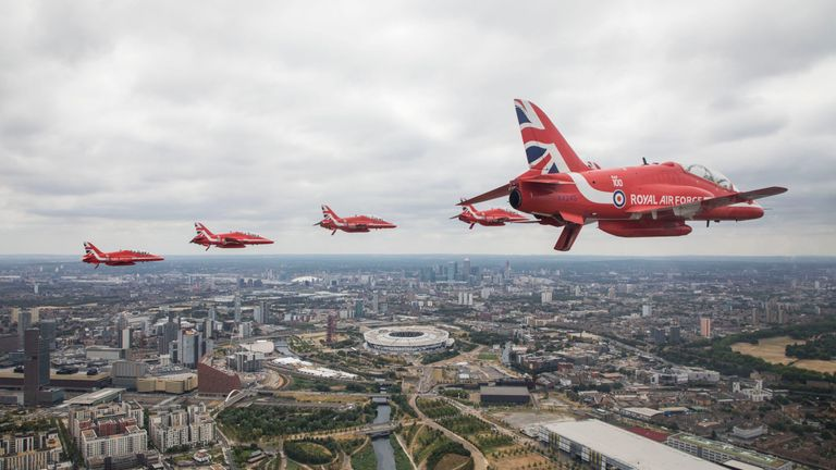 An RAF image showing the Red Arrows above central London