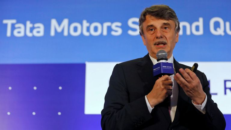 Jaguar Land Rover (JLR) Chief Executive Officer Ralf Speth speaks during a news conference to announce Tata Motors' quarterly results in Mumbai, India, November 9, 2017