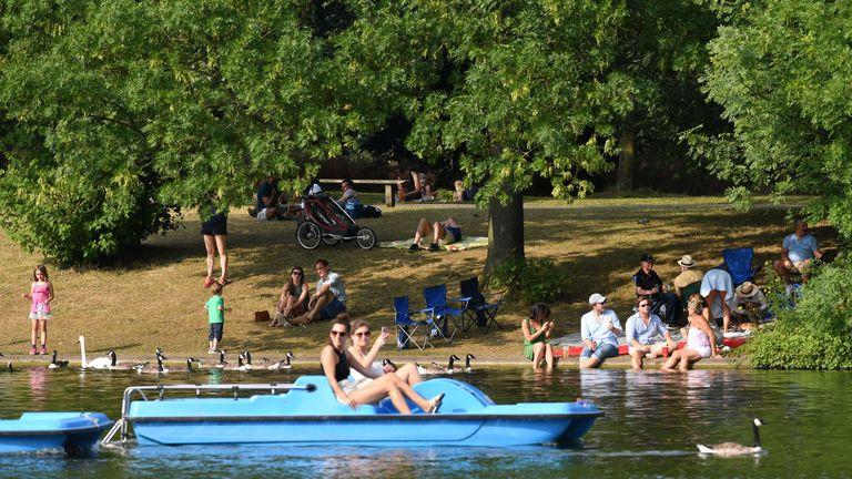 Paddleboating in London's Regent's Park