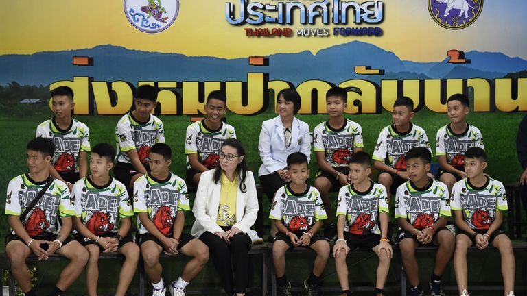 Rescued Thai boys at a news conference