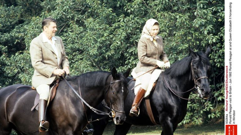 Ronald Reagan and the Queen rode horses in the Windsor Castle grounds