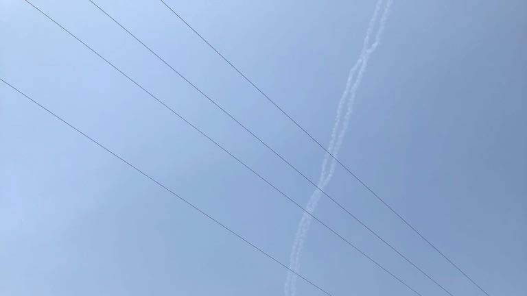 Smoke trails from two Patriot missiles near the Israeli city of Safed