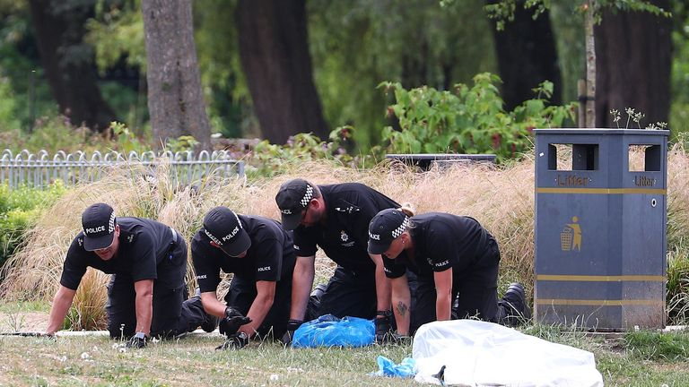 Police officers search Queen Elizabeth Gardens in Salisbury