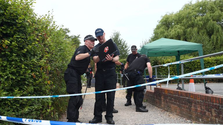 Police officers search Queen Elizabeth Gardens in Salisbury