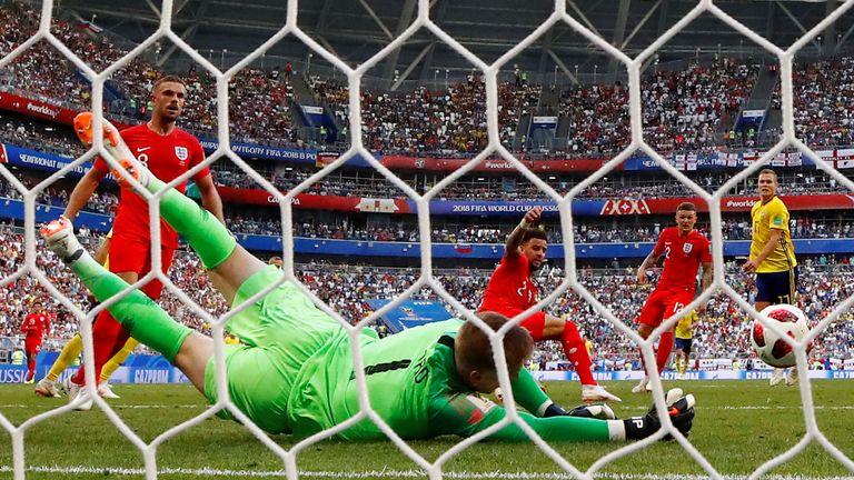 Sweden vs England - Samara Arena, Samara, Russia - July 7, 2018 England's Jordan Pickford makes a save from Sweden's Viktor Claesson
