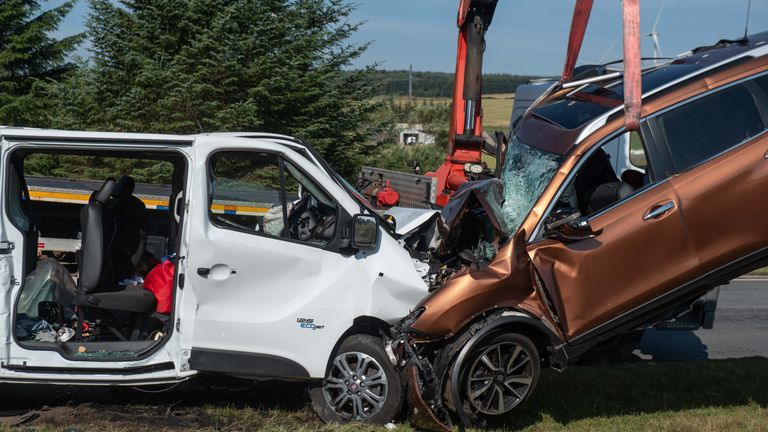 Boy, 4, among five killed in minibus and car crash in