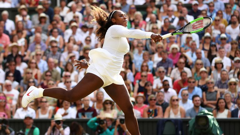 Serena Williams of The United States returns against Angelique Kerber of Germany during the Ladies' Singles final on day twelve of the Wimbledon Lawn Tennis Championships at All England Lawn Tennis and Croquet Club on July 14, 2018 in London, England