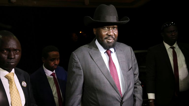 South Sudan President Salva Kiir arrives at the national palace to negotiate with South Sudan rebel leader Riek Machar in Addis Ababa, Ethiopia June 20, 2018. REUTERS/Tiksa Negeri