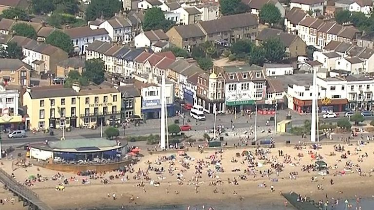 People flock to the beach at Southend as the UK is gripped by a heatwave