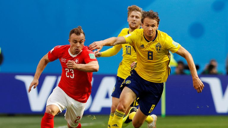 Xherdan Shaquiri struggled to make a decisive contribution against Sweden