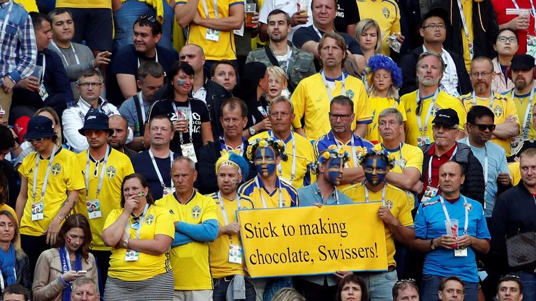 Swedish fans made a mockery of their Swiss counterparts in the stands
