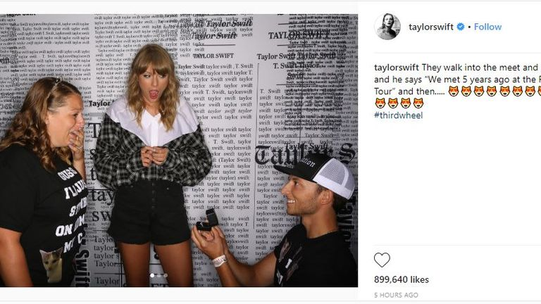 Taylor Swift celebrated the engagement on her Instagram account