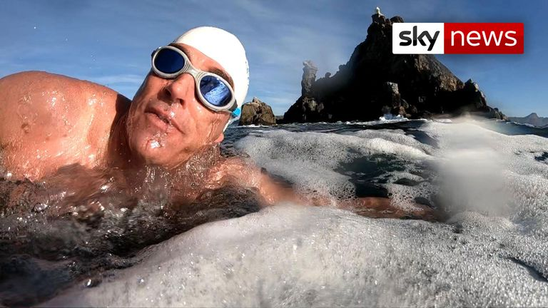 Ocean Campaigner Lewis Pugh aims to swim 350 miles in 50 days.