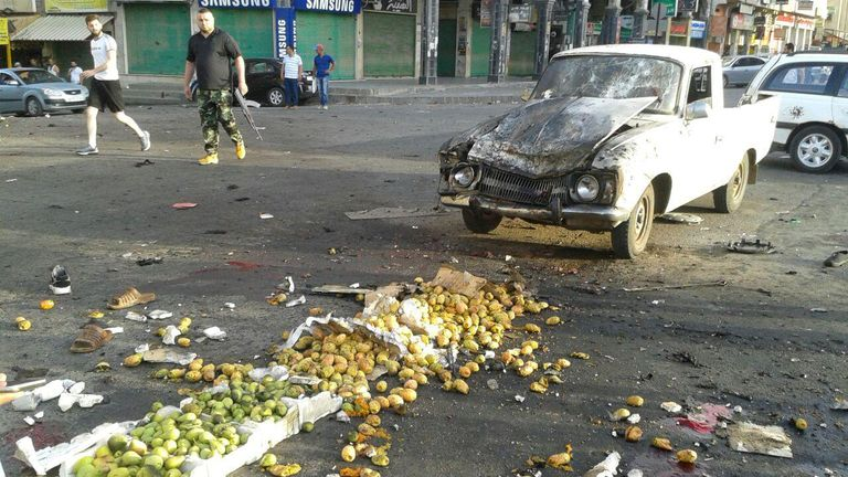 Damages after a suicide bomb attack are seen in Sweida, Syria July 25, 2018. Sana/Handout via REUTERS THIS IMAGE HAS BEEN SUPPLIED BY A THIRD PARTY. IT IS DISTRIBUTED, EXACTLY AS RECEIVED BY REUTERS, AS A SERVICE TO CLIENTS
