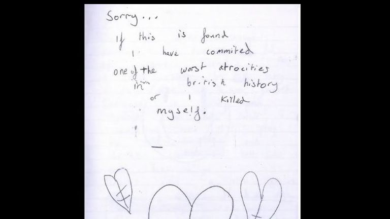 A note found in Wyllie's journal apologising for the atrocity