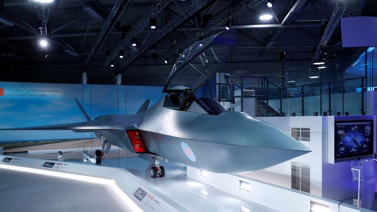 Britain's defence minister, Gavin Wiliamson unveiled a model of a new jet fighter, called 'Tempest' at the Farnborough Airshow, in Farnborough, UK
