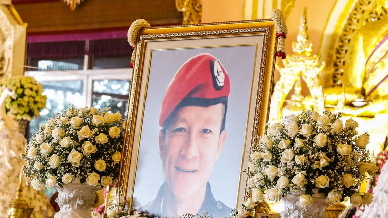 The portait of former Thai Navy SEAL, Saman Kunan, who died during the rescue operation