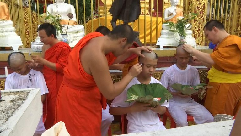 The head shaving was part of the ceremony