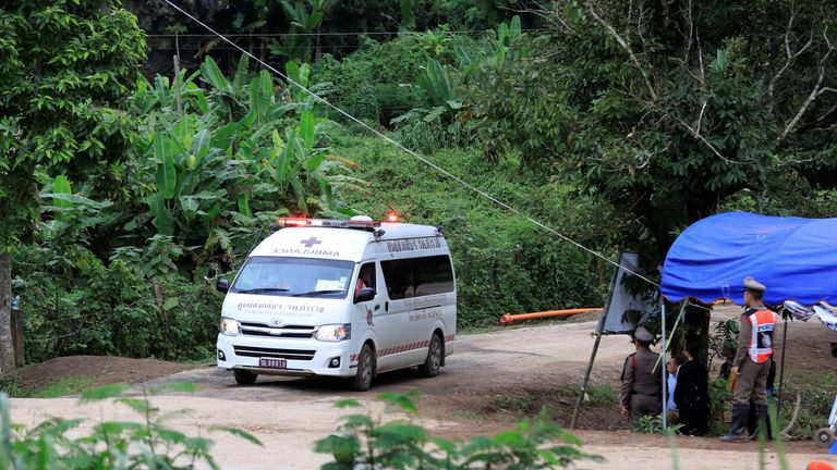 An ambulance carrying rescued schoolboys leaves from Tham Luang cave complex in the northern province of Chiang Rai, Thailand, July 10, 2018. REUTERS/Soe Zeya Tun