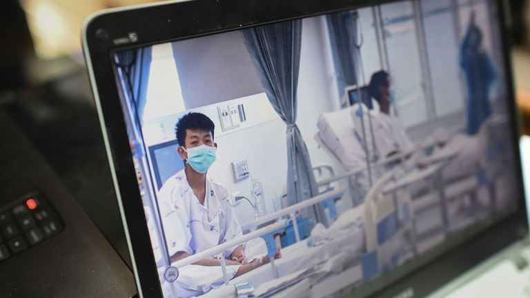 Footage of the boys in hospital was shown in a press conference in Chiang Rai