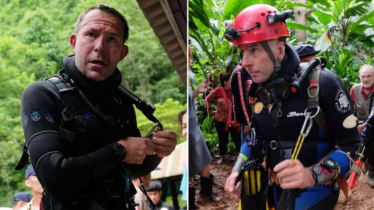 British cave-divers John Volanthen (left) and Richard Stanton in Thailand