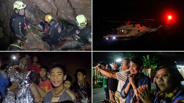 Four boys were brought out of the cave on Sunday - but nine remain trapped