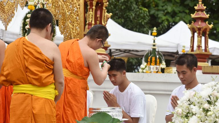 The boys will be ordained to be monks