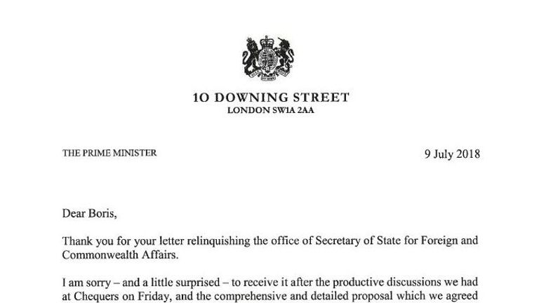 "Theresa May wrote in her letter to Boris Johnson that she is a ""little surprised"" at his resignation"