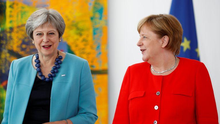 German Chancellor Angela Merkel receives Theresa May in Berlin