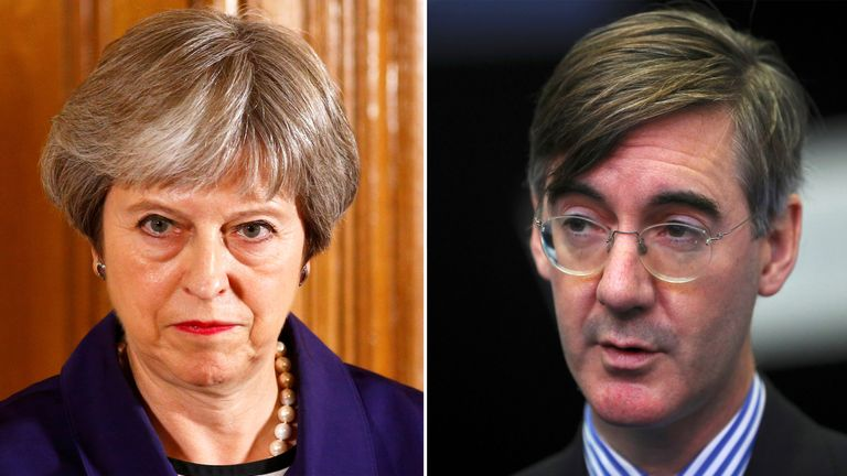 Theresa May and Jacob Rees Mogg