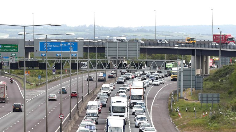 traffic congestion on the M25 as Thurrock services has been named the worst motorway service in England