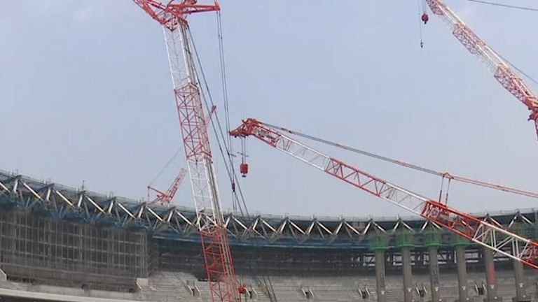 Construction in progress on National Stadium in Tokyo for 2020 Olympic Games