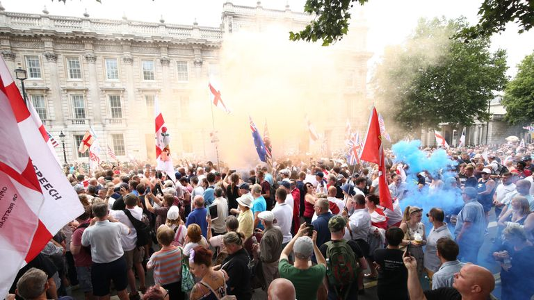 Free Tommy Robinson supporters and Pro-Trump supporters come together on Whitehall,