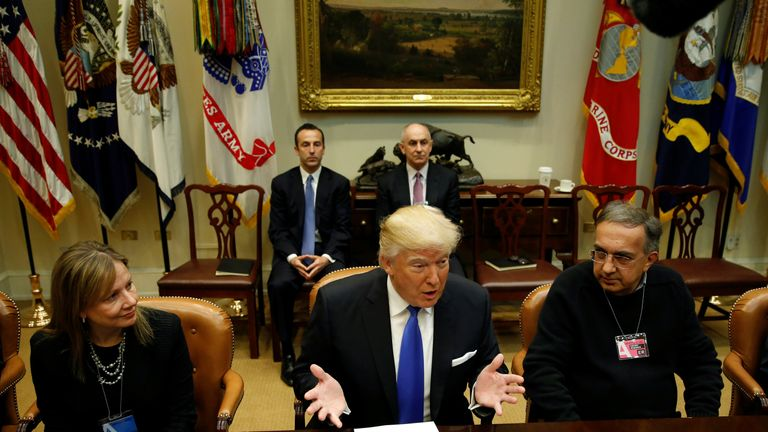 Donald Trump and Sergio Marchionne at a White House meeting of auto industry chiefs in 2017