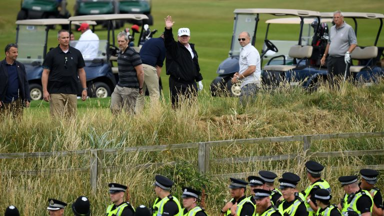 during the U.S. President's first official visit to the United Kingdom on July 14, 2018 in Turnberry, Scotland. The President of the United States and First Lady, Melania Trump on their first official visit to the UK after yesterday's meetings with the Prime Minister and the Queen is in Scotland for private weekend stay at his Turnberry.