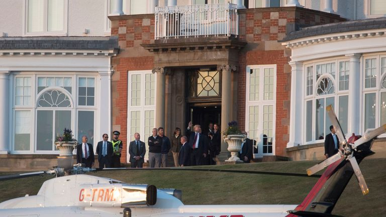 Mr Trump and first lady Melania Trump at the Trump Turnberry resort in South Ayrshire