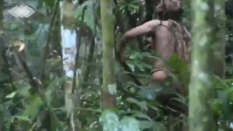 Incredible footage has been released of an uncontacted indigenous man who has lived alone in an Amazon forest for at least 22 years.